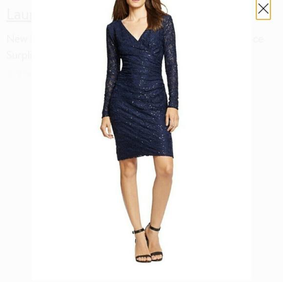 Lauren Ralph Lauren Dresses & Skirts - Lauren Sequin Dress Navy Laced Surplice